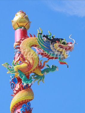 Dragon on pole in Chinese temple Stock Photo - Royalty-Free, Artist: wiangya                       , Code: 400-05702893