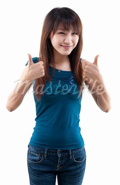 Asian female thumbs up with great smile. Stock Photo - Royalty-Free, Artist: szefei                        , Code: 400-05703193