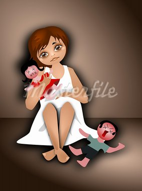 Illustration of a girl with two szmacianymi dolls. Stock Photo - Royalty-Free, Artist: bruniewska                    , Code: 400-05703295