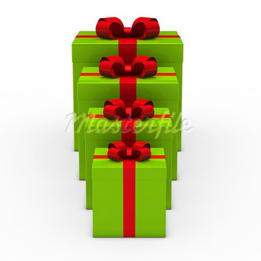 3d green gift box small to big Stock Photo - Royalty-Free, Artist: dak                           , Code: 400-05703393