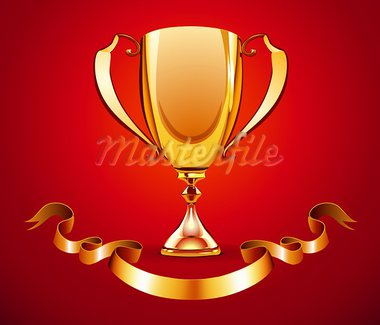 Vector illustration of golden trophy with ribbon badge to put a text Stock Photo - Royalty-Free, Artist: PixelEmbargo, Code: 400-05704577