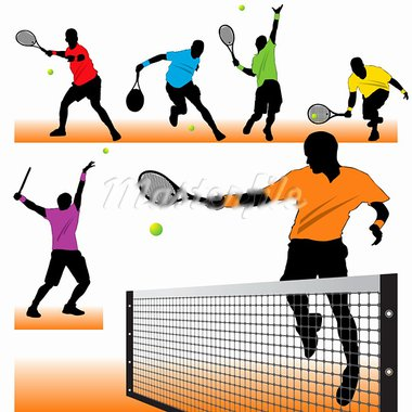 6 Tennis Players Silhouettes Set Stock Photo - Royalty-Free, Artist: kaludov                       , Code: 400-05704607