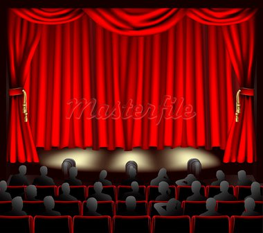 Illustration of theatre with curtains and audience. Stock Photo - Royalty-Free, Artist: Krisdog                       , Code: 400-05704639