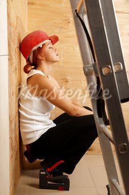 caucasian woman as worker wearing red protective helmet Stock Photo - Royalty-Free, Artist: fotum                         , Code: 400-05704667