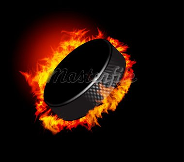 Hockey Puck in Fire isolated on Black Background. Vector. Stock Photo - Royalty-Free, Artist: sermax55                      , Code: 400-05704981