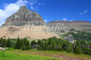 Jagged peaks rise from the ground at Logan Pass of Glacier National Park - Montana. Stock Photo - Royalty-Free, Artist: Wirepec                       , Code: 400-05705149