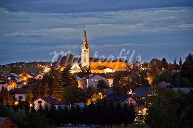 Croatian Greek Catholic Cathedral, Eparchy of Krizevci, evening view Stock Photo - Royalty-Free, Artist: xbrchx                        , Code: 400-05705212