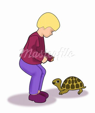 A blond little kid talking to a turtle. Stock Photo - Royalty-Free, Artist: Unnibente                     , Code: 400-05705562