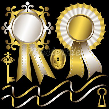 Collection gold and silver elements and  awards  for design on black background (vector) Stock Photo - Royalty-Free, Artist: OlgaDrozd                     , Code: 400-05705852