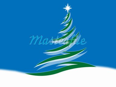 Symbol of a fir-tree on a blue background Stock Photo - Royalty-Free, Artist: Leoco                         , Code: 400-05705889