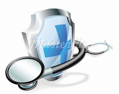 Shield with stethoscope wrapped round it medical healthcare concept Stock Photo - Royalty-Free, Artist: Krisdog                       , Code: 400-05706110