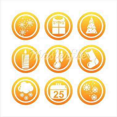set of 9 orange christmas signs Stock Photo - Royalty-Free, Artist: LxIsabelle                    , Code: 400-05706203