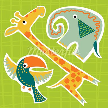 vector sticker of colorful baby elephant giraffe and toucan Stock Photo - Royalty-Free, Artist: Nadzeya                       , Code: 400-05706402