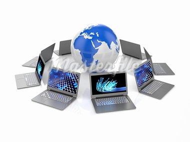 3d illustration of laptops and Earth planet on white background Stock Photo - Royalty-Free, Artist: kotist                        , Code: 400-05706539