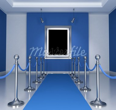 Museum with blue  carpet and barrier rope- rendering Stock Photo - Royalty-Free, Artist: archidea                      , Code: 400-05707387