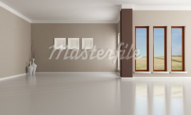 Empty brown and beige  modern interior - rendering -the  image on background is a my photo Stock Photo - Royalty-Free, Artist: archidea                      , Code: 400-05707391