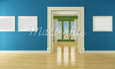 Blue and green interior with open classic sliding door and windows- rendering Stock Photo - Royalty-Free, Artist: archidea                      , Code: 400-05707394