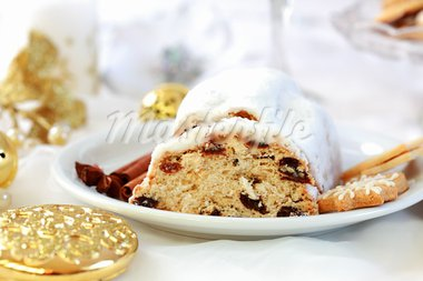 Delicious Christmas stollen and Christmas cake Stock Photo - Royalty-Free, Artist: Brebca                        , Code: 400-05708131