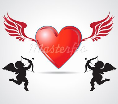 two angle kids joining heart Stock Photo - Royalty-Free, Artist: motionkarma                   , Code: 400-05710761