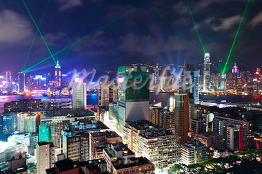 Hong Kong at night Stock Photo - Royalty-Free, Artist: leungchopan                   , Code: 400-05710853