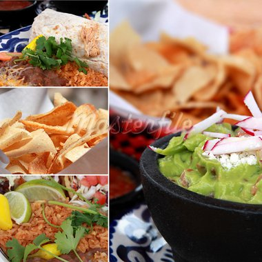 collage of various mexican foods guacamole, nachos,burrito, beans, rice Stock Photo - Royalty-Free, Artist: gksd777                       , Code: 400-05710872