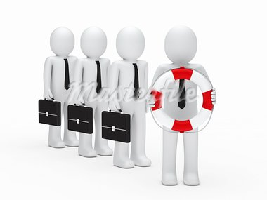 3d business men with briefcase and lifebelt Stock Photo - Royalty-Free, Artist: dak                           , Code: 400-05711043