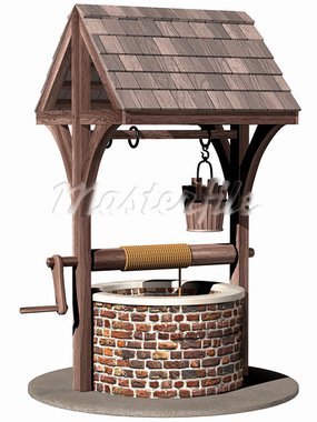 Isolated illustration of an ancient and magical wishing well Stock Photo - Royalty-Free, Artist: paulfleet                     , Code: 400-05711129