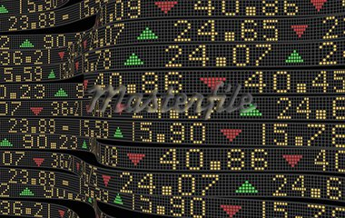 Stock market tickers sliding on trading boards Stock Photo - Royalty-Free, Artist: 3000ad                        , Code: 400-05711439