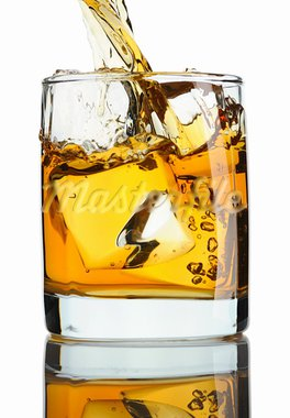 Pouring whiskey in glass with ice isolated on white Stock Photo - Royalty-Free, Artist: haveseen                      , Code: 400-05711572