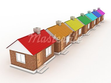 Illustration of seven houses with colour of a rainbow Stock Photo - Royalty-Free, Artist: FotoVika                      , Code: 400-05711707