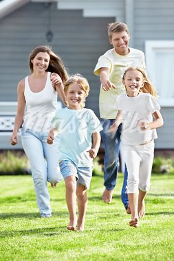Moving children from parents on the lawn Stock Photo - Royalty-Free, Artist: Deklofenak                    , Code: 400-05711851
