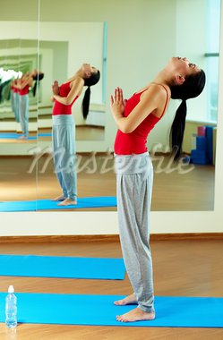 Portrait of young sporty girl doing physical exercise in gym Stock Photo - Royalty-Free, Artist: pressmaster                   , Code: 400-05712057