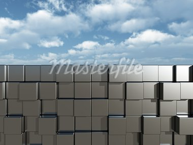 cubes wall in front of cloudy blue sky - 3d illustration Stock Photo - Royalty-Free, Artist: drizzd                        , Code: 400-05713144