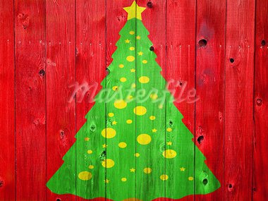 Christmas Tree on Colored Wooden Fence Boards Stock Photo - Royalty-Free, Artist: Frank_L_Jr                    , Code: 400-05713322