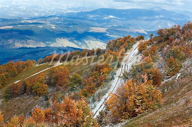 October Carpathian mountain plateau with first winter snow and autumn colorful foliage Stock Photo - Royalty-Free, Artist: Yuriy                         , Code: 400-05713512