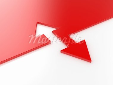 3d render of red arrow connection concept Stock Photo - Royalty-Free, Artist: kotist                        , Code: 400-05713540