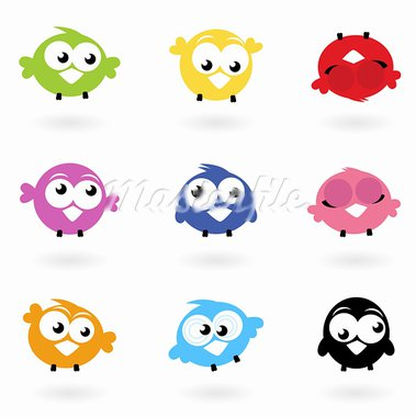 Colorful funny Twitter Birds collection. Vector icons  Stock Photo - Royalty-Free, Artist: lordalea                      , Code: 400-05713592