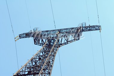 High voltage Electricity pylon against blue sky Stock Photo - Royalty-Free, Artist: nemalo                        , Code: 400-05713640