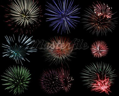 Set of various fireworks in different color and shape Stock Photo - Royalty-Free, Artist: Dole                          , Code: 400-05713682