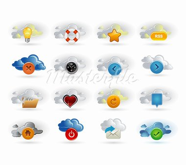 clouds and icons Stock Photo - Royalty-Free, Artist: Ika747                        , Code: 400-05714557