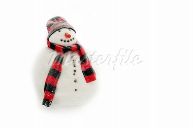 Snowman with red and black scarf and hat Stock Photo - Royalty-Free, Artist: PinkBadger                    , Code: 400-05714601