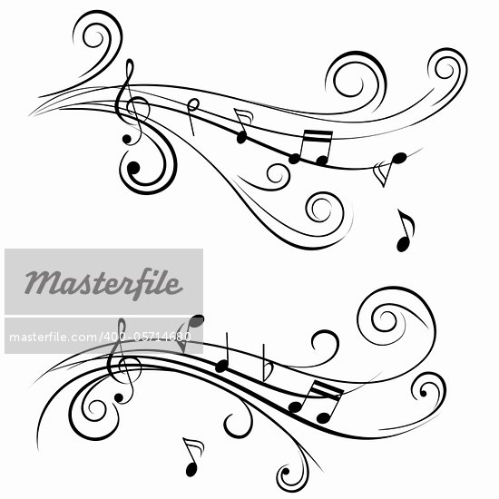 Ornamental music notes with swirls on white background Stock Photo - Royalty-Free, Artist: soleilc                       , Code: 400-05714680
