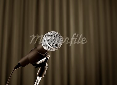 microphone behind curtain Stock Photo - Royalty-Free, Artist: razihusin                     , Code: 400-05714935