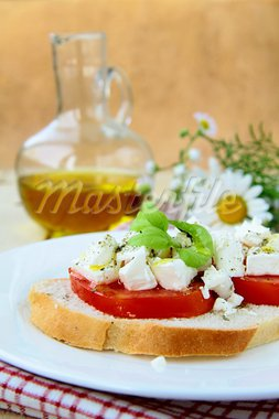 snacks sandwiches with tomatoes and goat cheese Stock Photo - Royalty-Free, Artist: Dream79                       , Code: 400-05715463