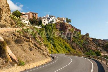Hanging hilltop houses at Finestrat old town, Costa Blanca, Spain Stock Photo - Royalty-Free, Artist: hemeroskopion                 , Code: 400-05715479