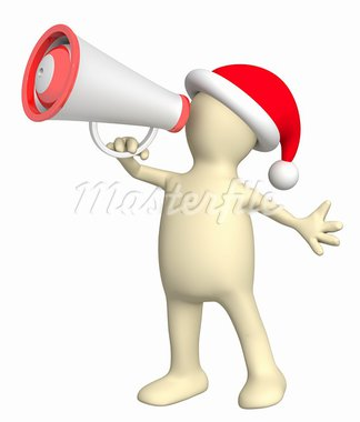 Christmas message. 3d puppet with megaphone. Isolated over white Stock Photo - Royalty-Free, Artist: frenta                        , Code: 400-05715823