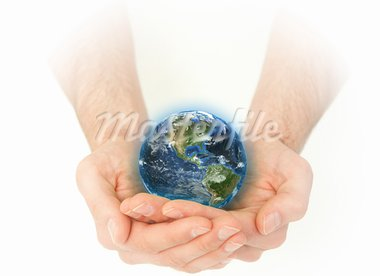 Masculine hands holding the Earth against a white background Stock Photo - Royalty-Free, Artist: 4774344sean                   , Code: 400-05716347