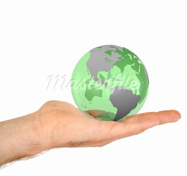 Masculine hand holding a 3d planet globe against a white background Stock Photo - Royalty-Free, Artist: 4774344sean                   , Code: 400-05716353