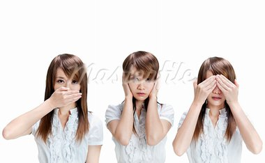Woman showing different gesture on white background Stock Photo - Royalty-Free, Artist: szefei                        , Code: 400-05716361
