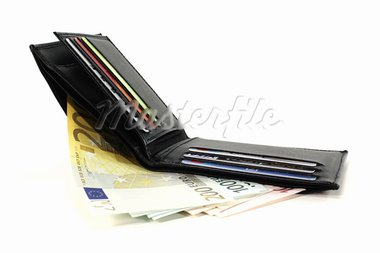 black wallet with cash cards and Euro notes Stock Photo - Royalty-Free, Artist: photooasis                    , Code: 400-05716587